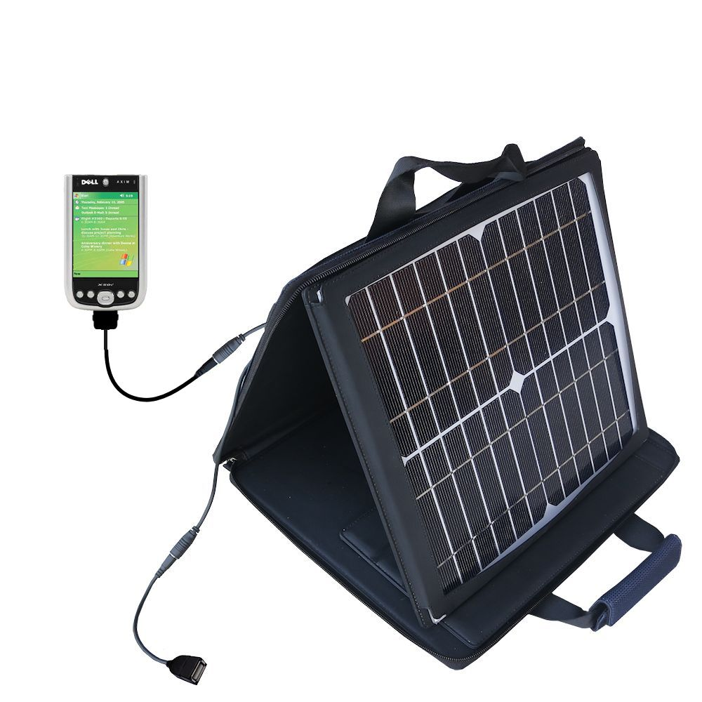 SunVolt Solar Charger compatible with the Dell Axim X50 X50v and one other device - charge from sun at wall outlet-like speed
