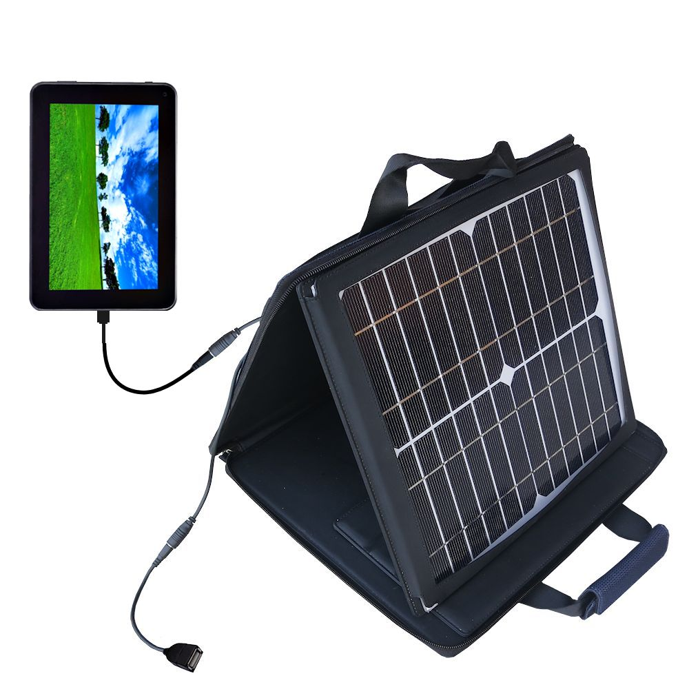 SunVolt Solar Charger compatible with the Double Power D7020 D7015 7 inch tablet and one other device - charge from sun at wall outlet-like speed