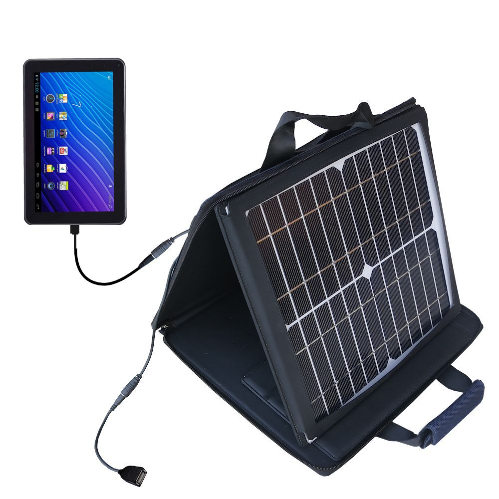 SunVolt Solar Charger compatible with the Double Power DOPO GS-918 9 inch tablet and one other device - charge from sun at wall outlet-like speed