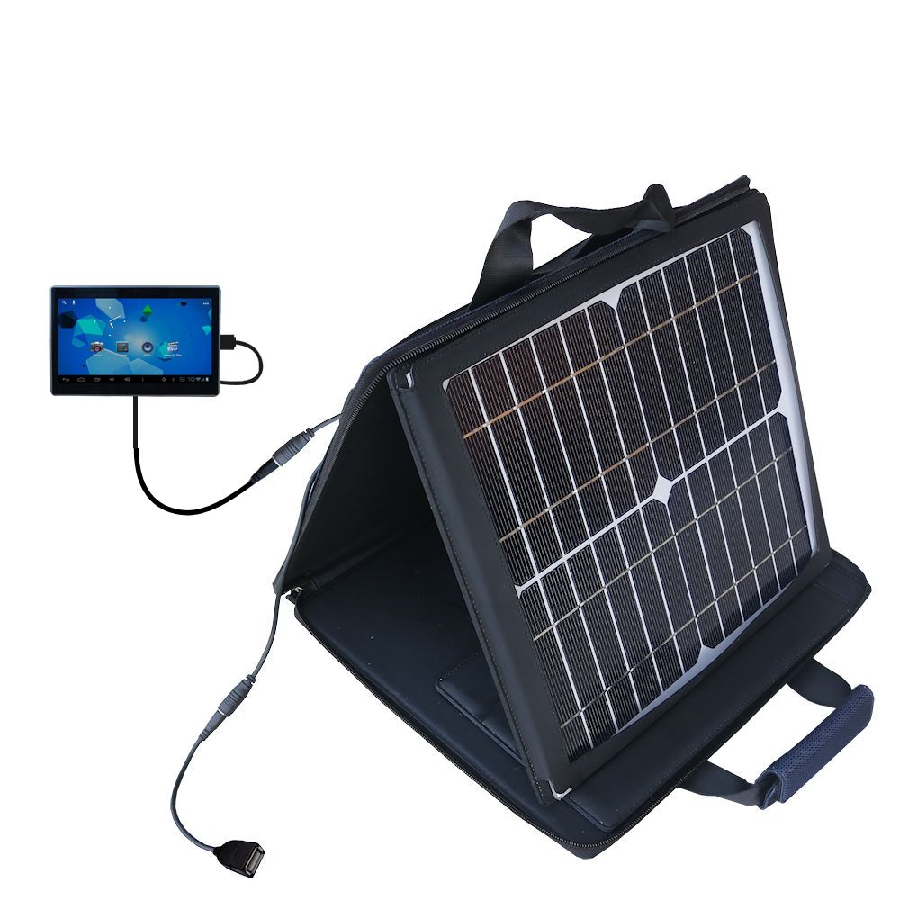 SunVolt Solar Charger compatible with the Double Power DOPO Tablet TD-1010 and one other device - charge from sun at wall outlet-like speed