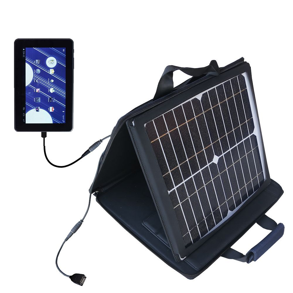 Gomadic SunVolt High Output Portable Solar Power Station designed for the Double Power M7088 7 inch tablet - Can charge multiple devices with outlet speeds