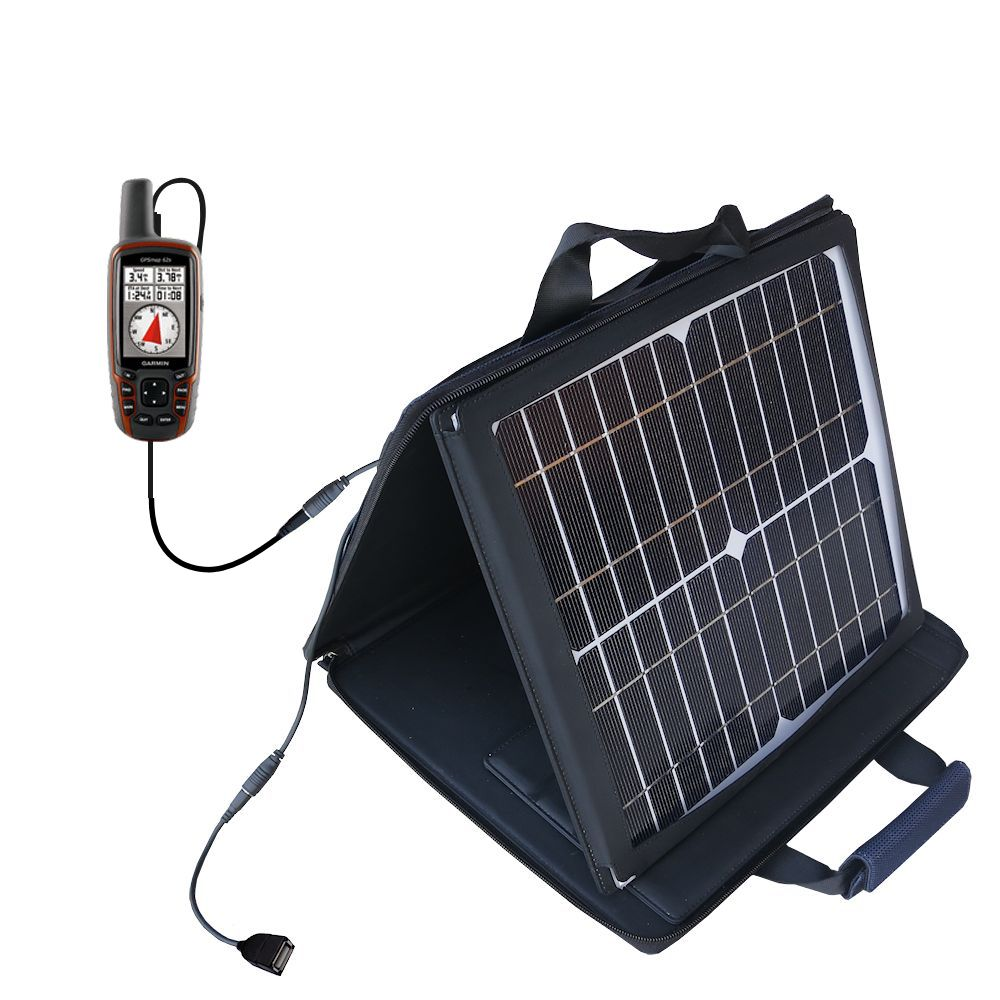 SunVolt Solar Charger compatible with the Garmin  GPSMap 62  and one other device - charge from sun at wall outlet-like speed