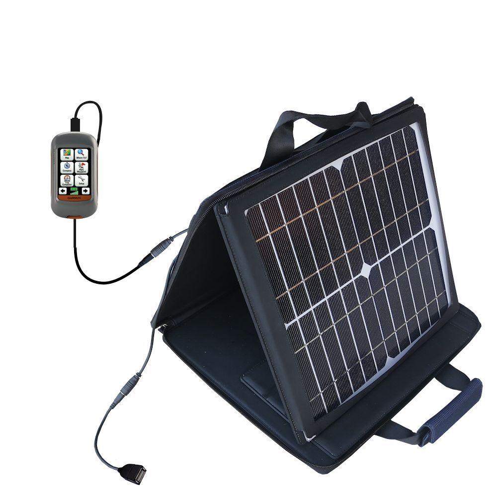 SunVolt Solar Charger compatible with the Garmin Dakota 10 20 and one other device - charge from sun at wall outlet-like speed