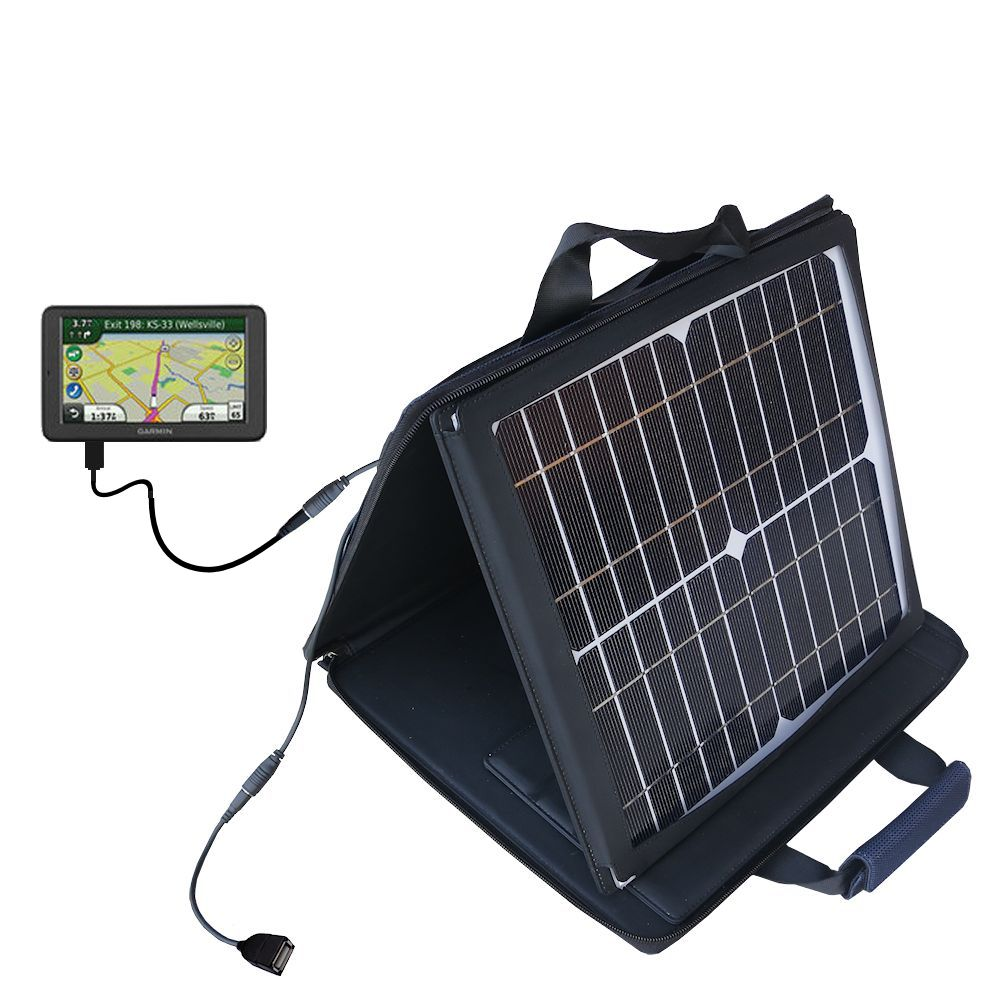 SunVolt Solar Charger compatible with the Garmin dezl 560 560LT 560LMT and one other device - charge from sun at wall outlet-like speed