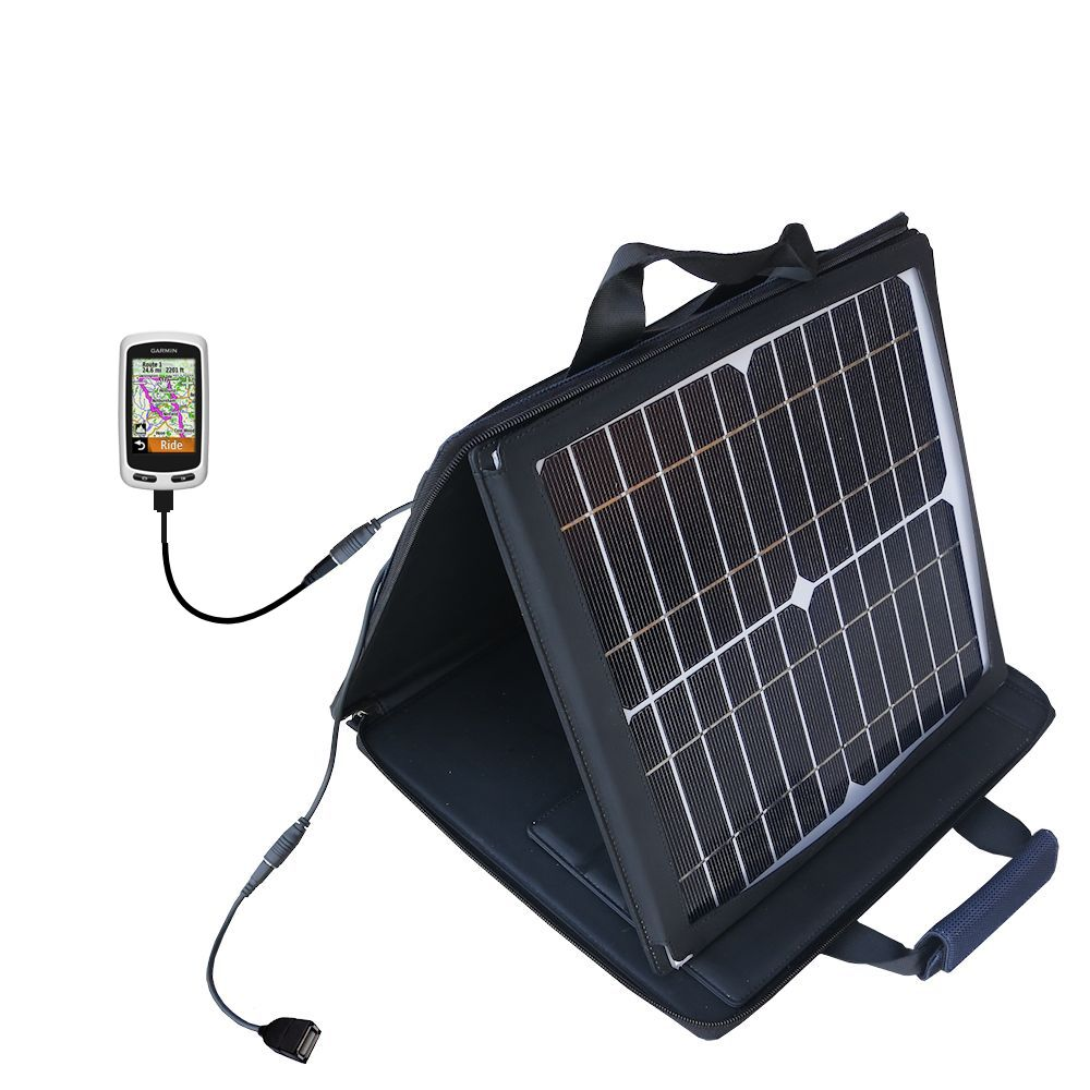 SunVolt Solar Charger compatible with the Garmin EDGE Touring Plus and one other device - charge from sun at wall outlet-like speed