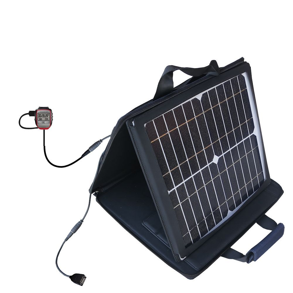 SunVolt Solar Charger compatible with the Garmin Forerunner 205 and one other device - charge from sun at wall outlet-like speed