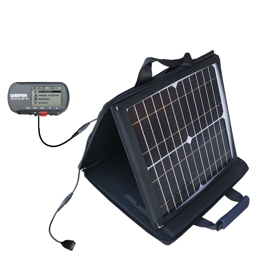 SunVolt Solar Charger compatible with the Garmin Forerunner 301 and one other device - charge from sun at wall outlet-like speed