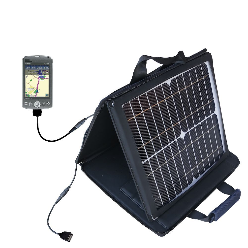 SunVolt Solar Charger compatible with the Garmin iQue M3 and one other device - charge from sun at wall outlet-like speed