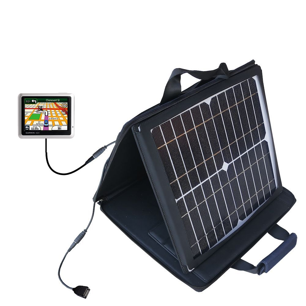 SunVolt Solar Charger compatible with the Garmin Nuvi 1245 1240 and one other device - charge from sun at wall outlet-like speed