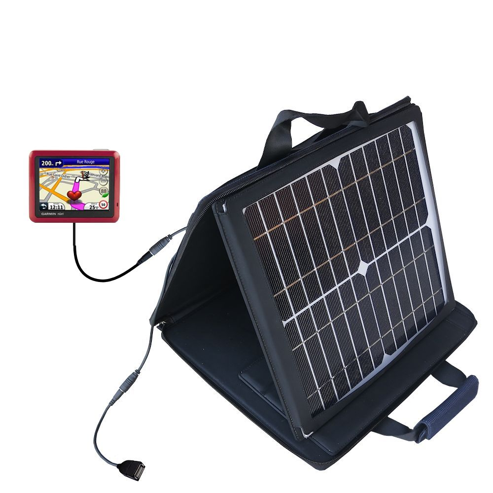 SunVolt Solar Charger compatible with the Garmin Nuvi 1245 City Chic and one other device - charge from sun at wall outlet-like speed