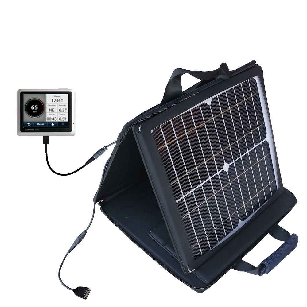 SunVolt Solar Charger compatible with the Garmin Nuvi 1250 and one other device - charge from sun at wall outlet-like speed