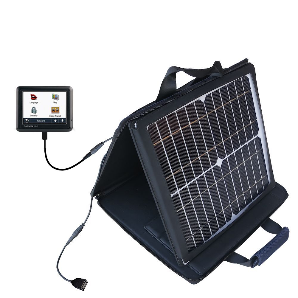SunVolt Solar Charger compatible with the Garmin Nuvi 1260T and one other device - charge from sun at wall outlet-like speed