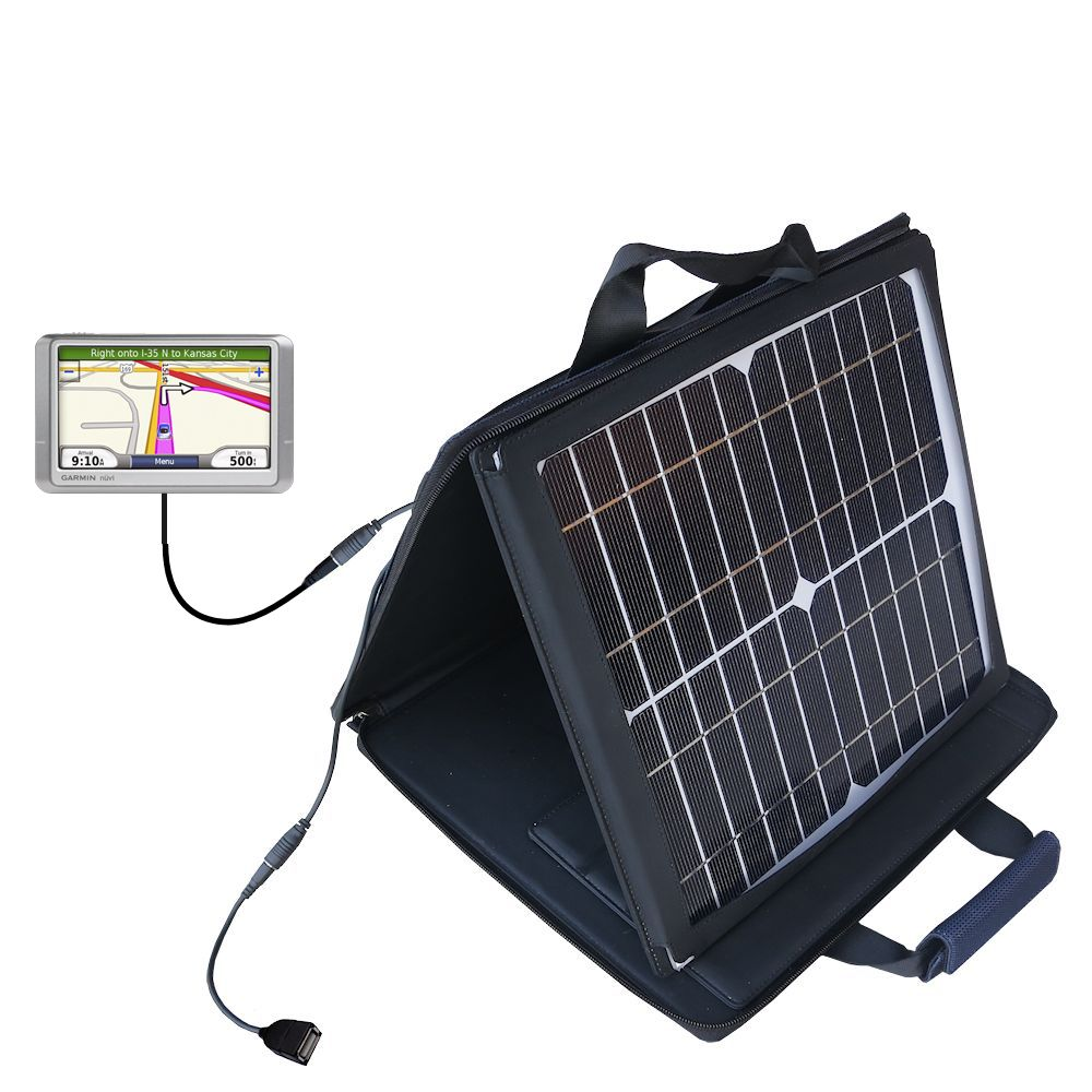 SunVolt Solar Charger compatible with the Garmin Nuvi 1340T and one other device - charge from sun at wall outlet-like speed