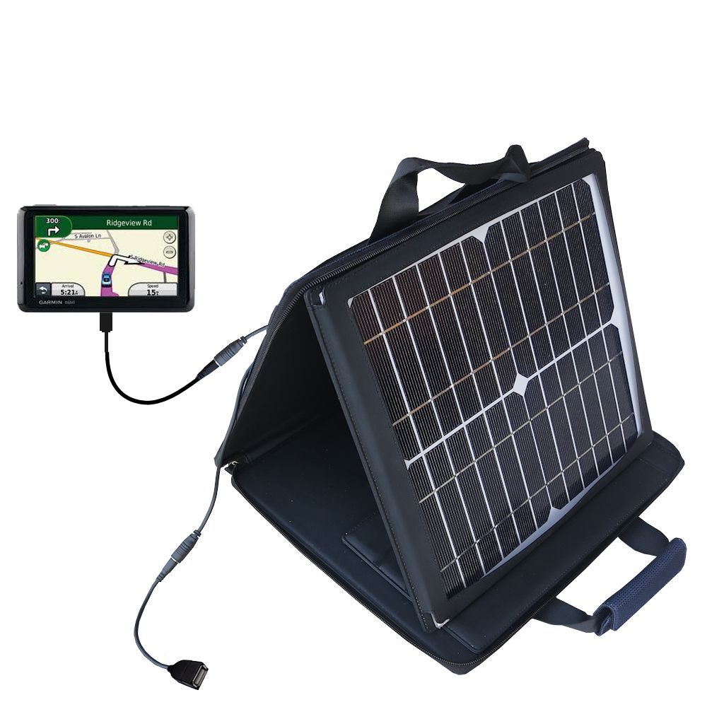 SunVolt Solar Charger compatible with the Garmin Nuvi 1370T and one other device - charge from sun at wall outlet-like speed
