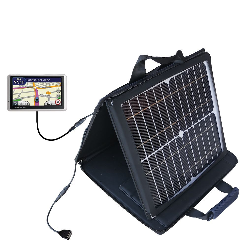 SunVolt Solar Charger compatible with the Garmin Nuvi 1370Tpro and one other device - charge from sun at wall outlet-like speed