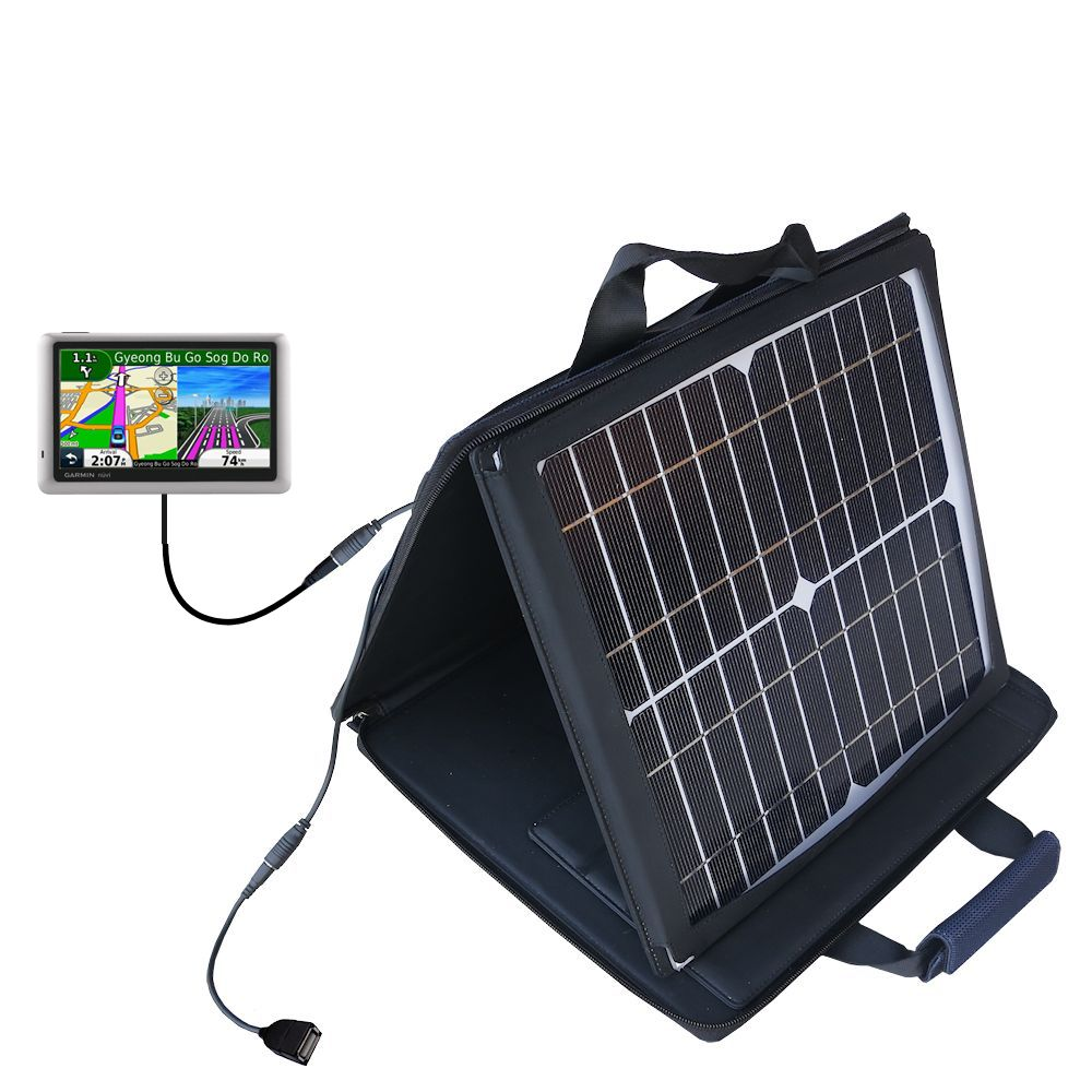 SunVolt Solar Charger compatible with the Garmin Nuvi 1490Tpro and one other device - charge from sun at wall outlet-like speed