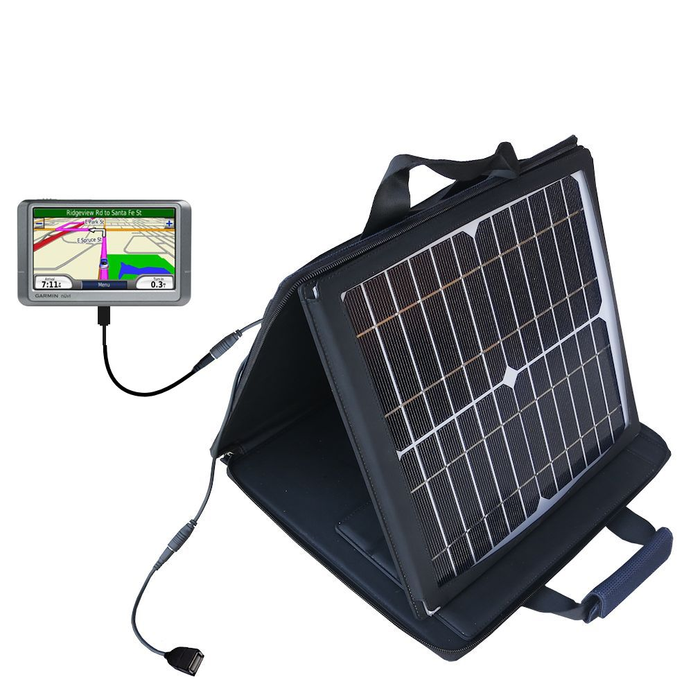 SunVolt Solar Charger compatible with the Garmin Nuvi 200 200W- and one other device - charge from sun at wall outlet-like speed