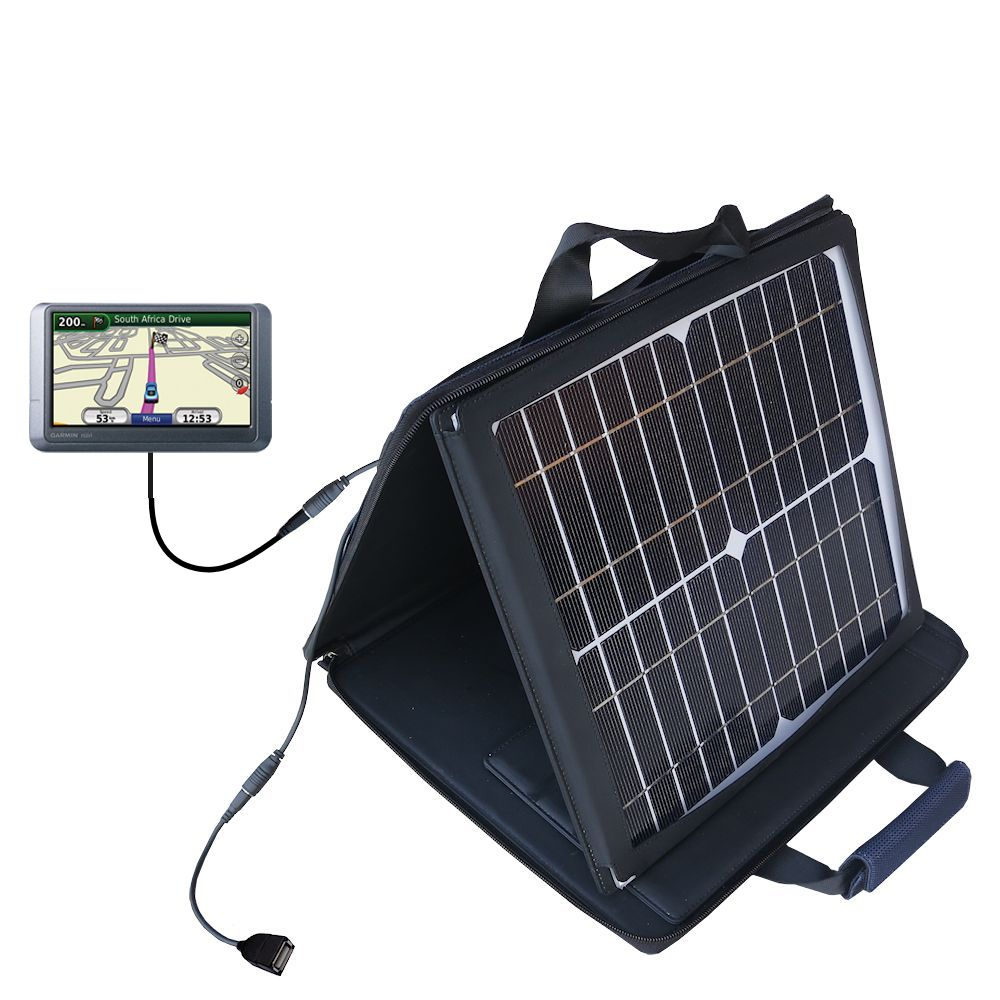 SunVolt Solar Charger compatible with the Garmin Nuvi 215W 215T and one other device - charge from sun at wall outlet-like speed