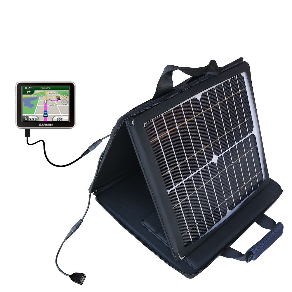 SunVolt Solar Charger compatible with the Garmin Nuvi 2300 2310 and one other device - charge from sun at wall outlet-like speed