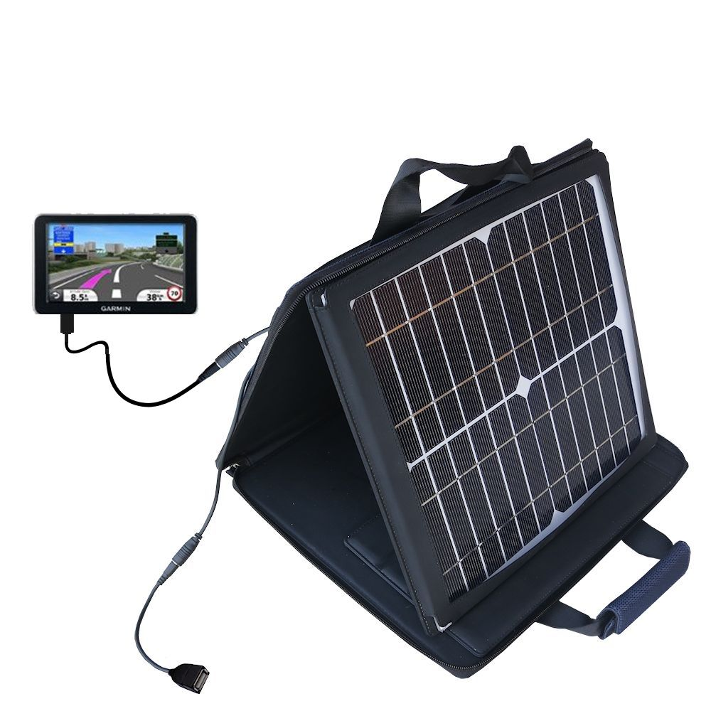 SunVolt Solar Charger compatible with the Garmin Nuvi 2340 2350 2360 2360LMT 2370 2370LT and one other device - charge from sun at wall outlet-like speed