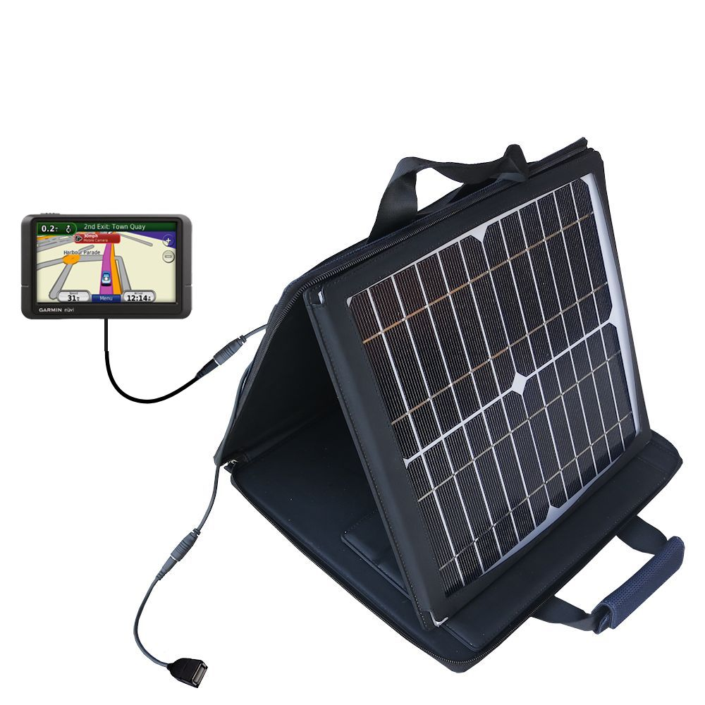 SunVolt Solar Charger compatible with the Garmin Nuvi 245 245T 245WT and one other device - charge from sun at wall outlet-like speed