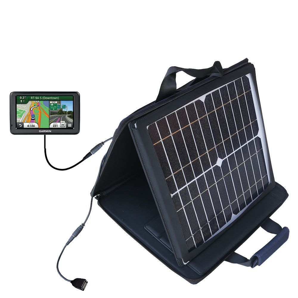 SunVolt Solar Charger compatible with the Garmin Nuvi 2455 2475LT 2495LMT 2455LMT and one other device - charge from sun at wall outlet-like speed