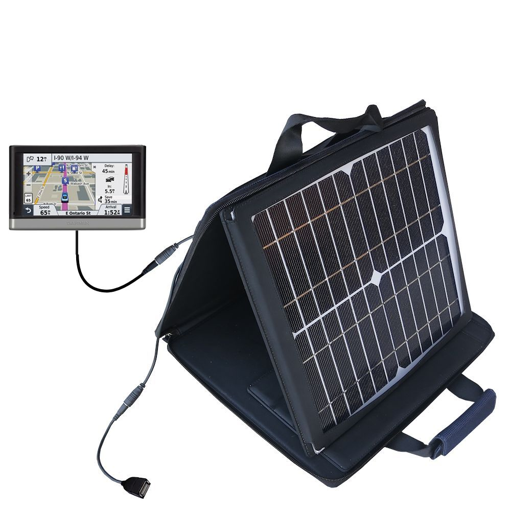 SunVolt Solar Charger compatible with the Garmin nuvi 2457 / 2497 LMT and one other device - charge from sun at wall outlet-like speed