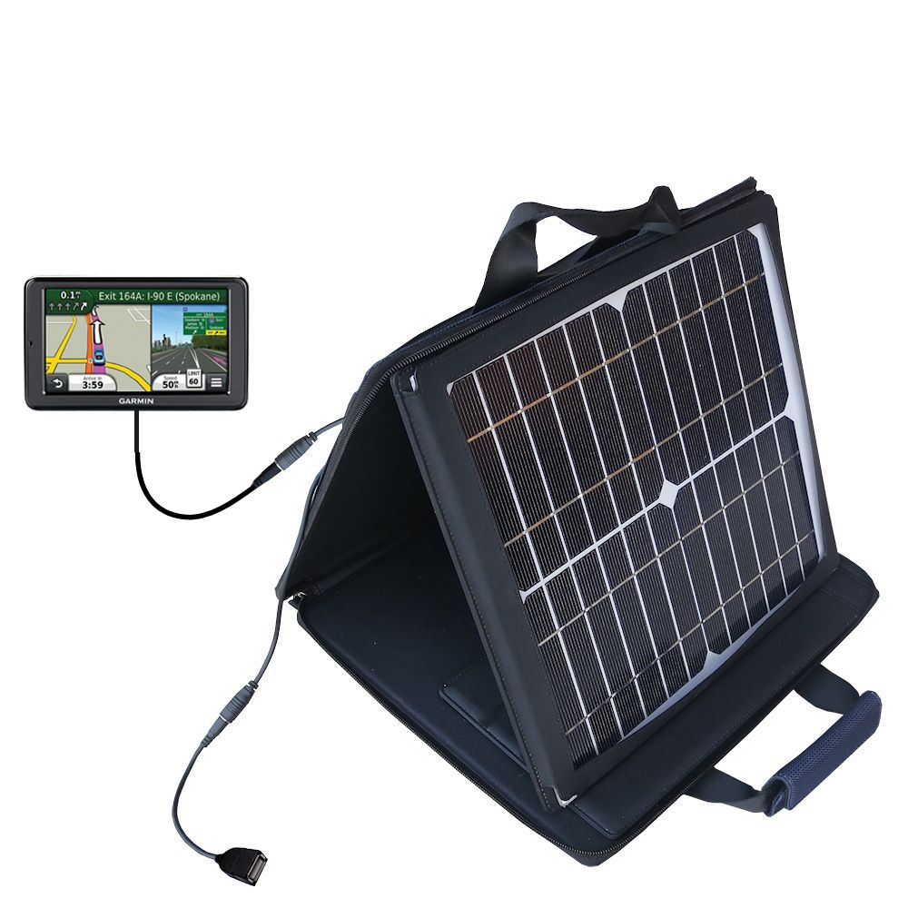 SunVolt Solar Charger compatible with the Garmin Nuvi 2555 2595 LMT and one other device - charge from sun at wall outlet-like speed