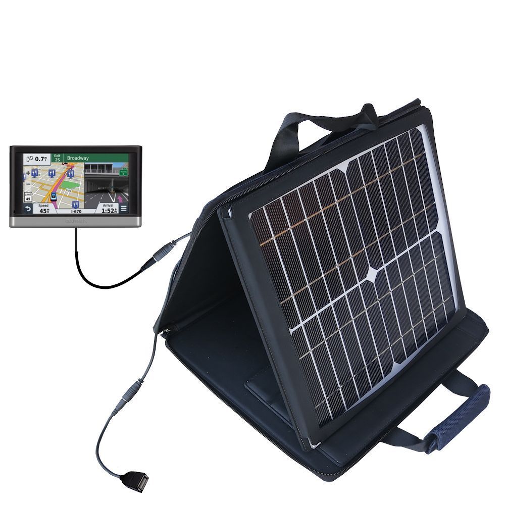 SunVolt Solar Charger compatible with the Garmin nuvi 2557 / 2577 / 2597 LMT and one other device - charge from sun at wall outlet-like speed