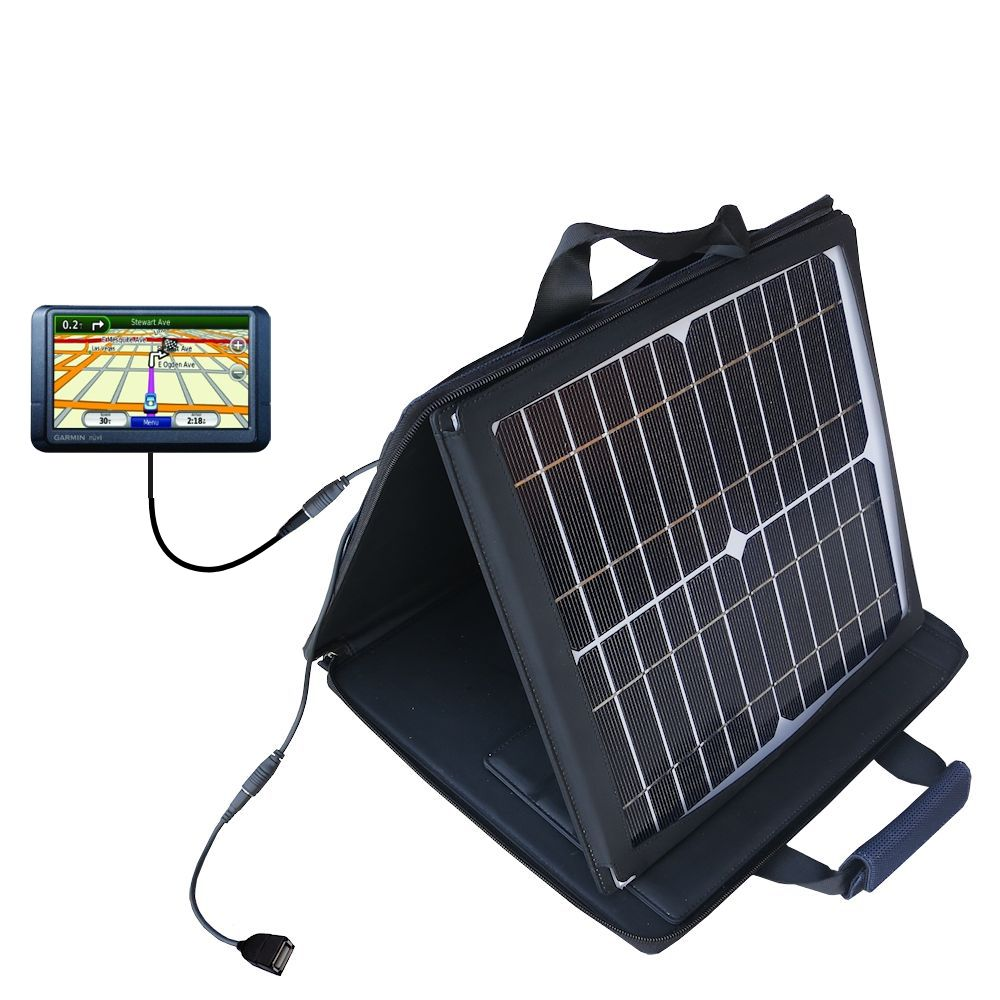 SunVolt Solar Charger compatible with the Garmin Nuvi 255W 255WT 255 and one other device - charge from sun at wall outlet-like speed
