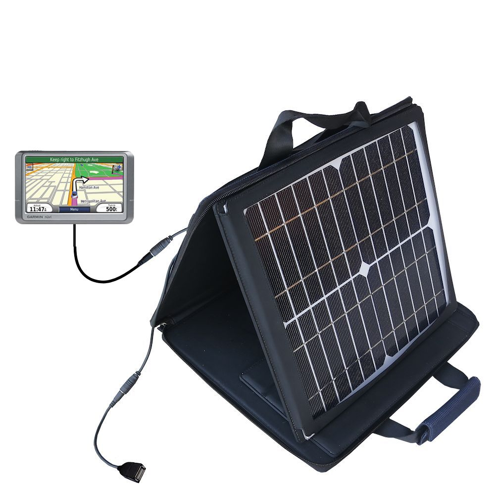 SunVolt Solar Charger compatible with the Garmin Nuvi 265WT 265T and one other device - charge from sun at wall outlet-like speed