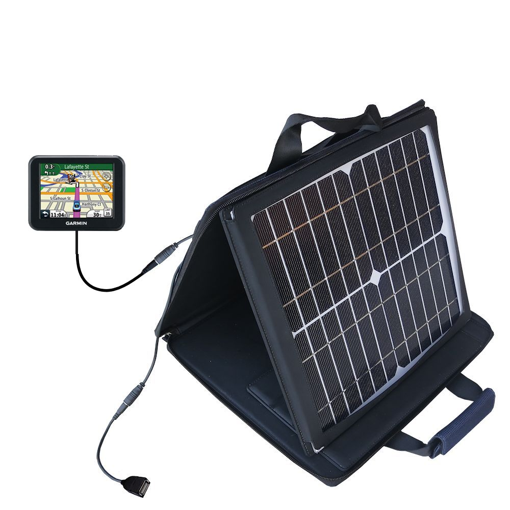 SunVolt Solar Charger compatible with the Garmin Nuvi 30 and one other device - charge from sun at wall outlet-like speed