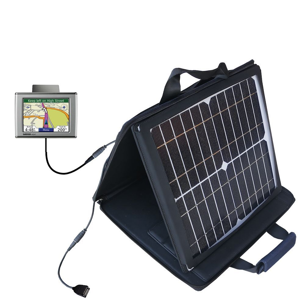 SunVolt Solar Charger compatible with the Garmin Nuvi 310 310T and one other device - charge from sun at wall outlet-like speed