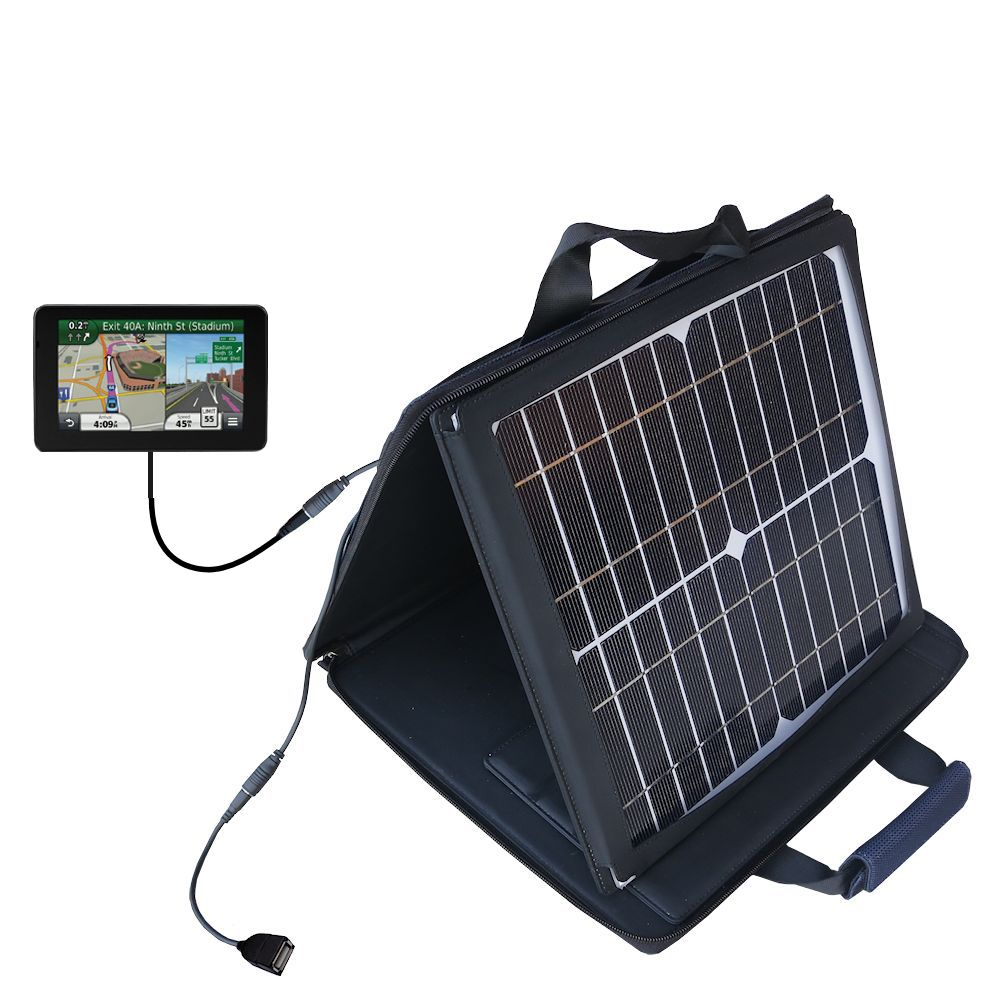 SunVolt Solar Charger compatible with the Garmin Nuvi 3590 3590LMT and one other device - charge from sun at wall outlet-like speed