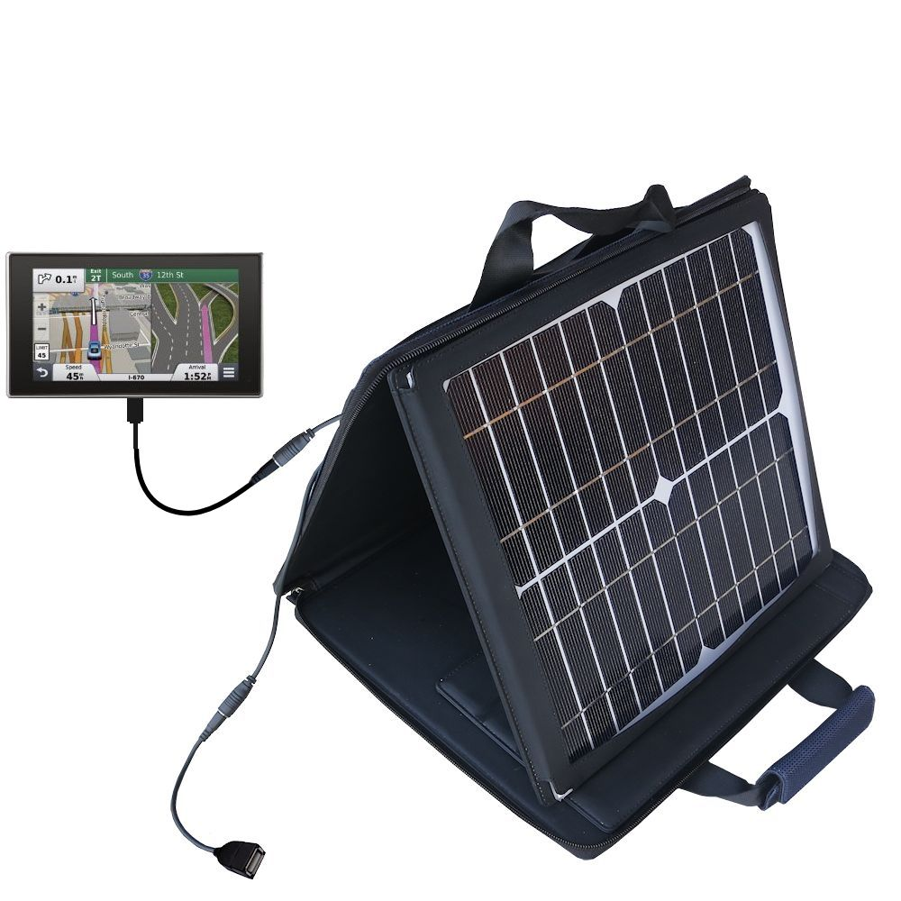 SunVolt Solar Charger compatible with the Garmin nuvi 3597 LMTHD and one other device - charge from sun at wall outlet-like speed