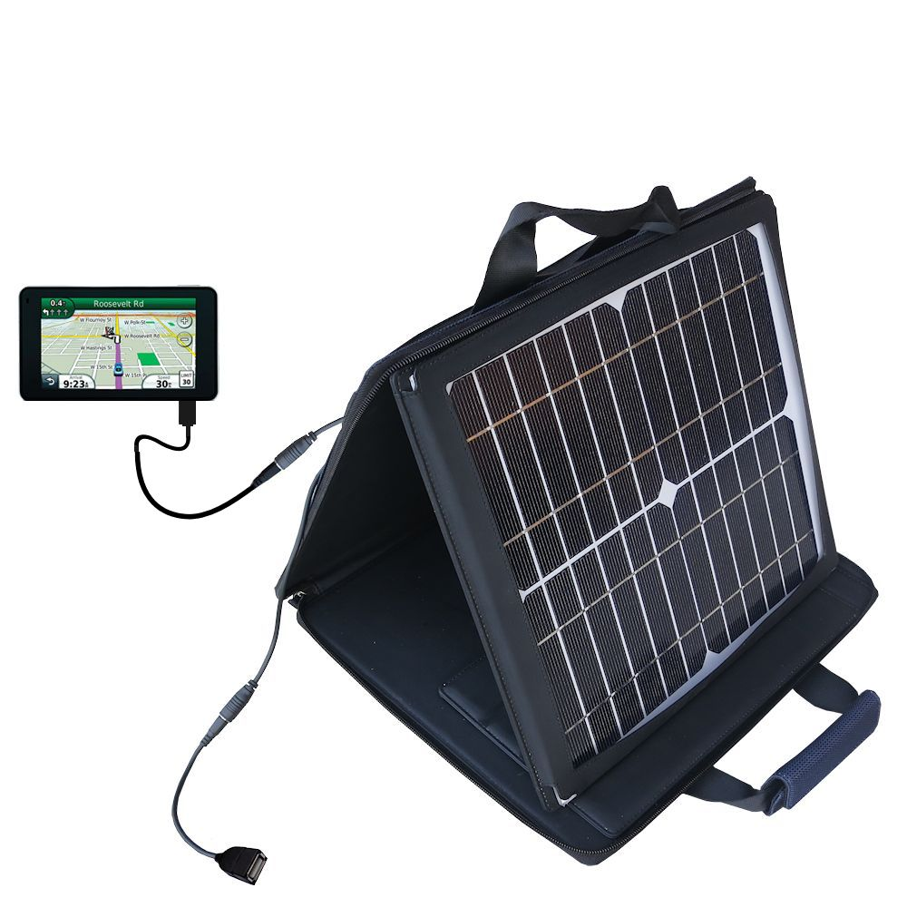 SunVolt Solar Charger compatible with the Garmin Nuvi 3790T 3790LMT and one other device - charge from sun at wall outlet-like speed