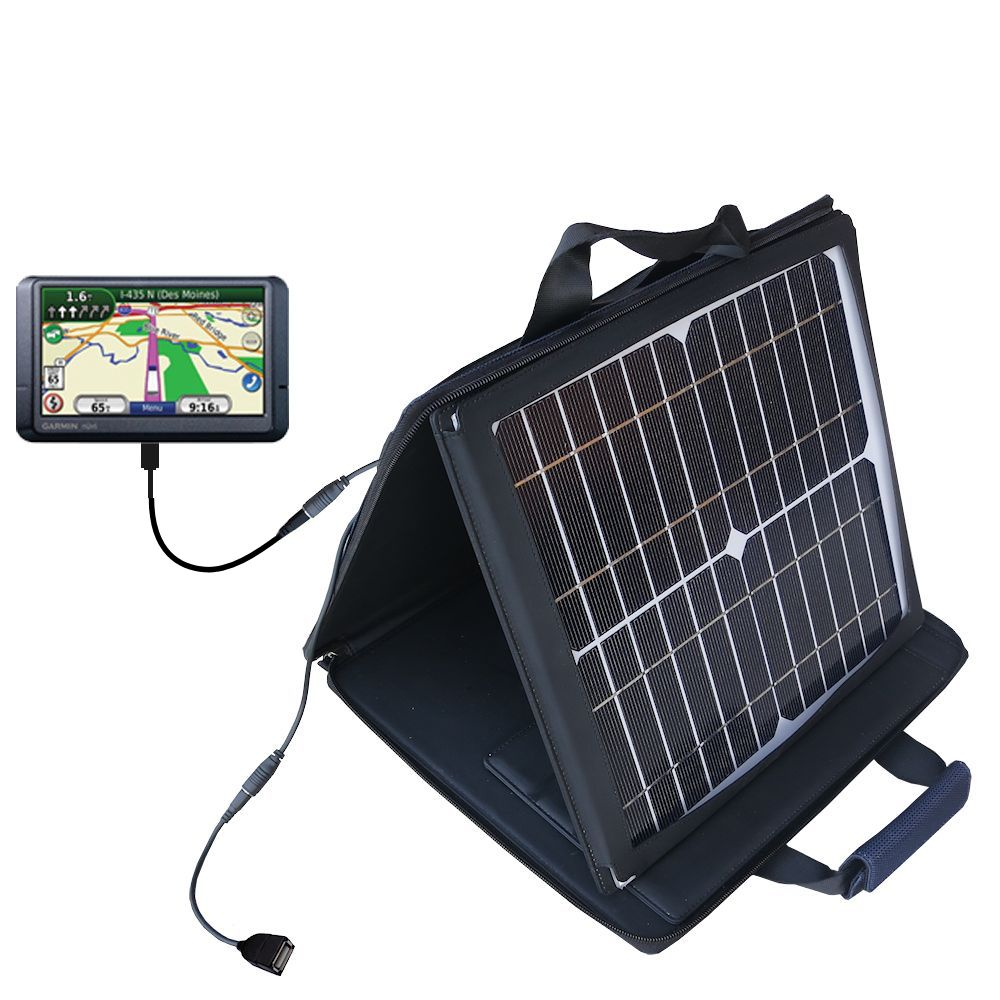 SunVolt Solar Charger compatible with the Garmin Nuvi 465T 465LMT and one other device - charge from sun at wall outlet-like speed