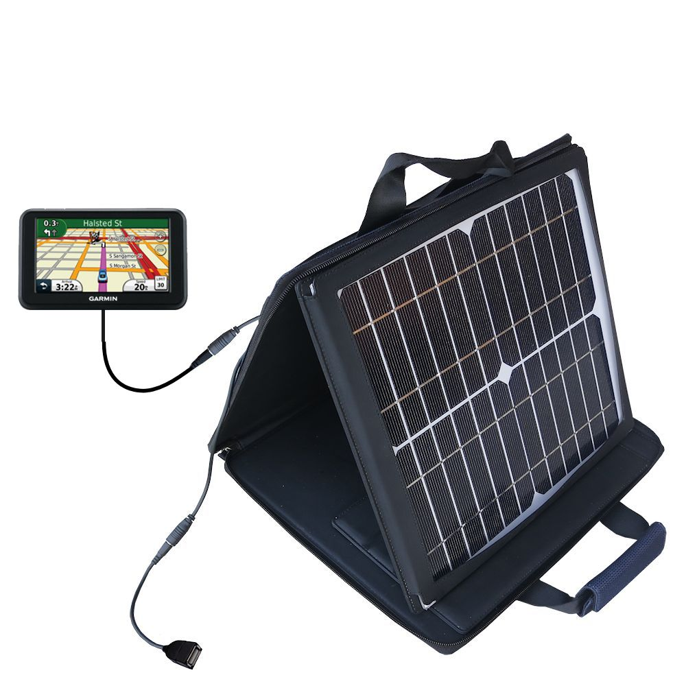 SunVolt Solar Charger compatible with the Garmin Nuvi 50 50LM and one other device - charge from sun at wall outlet-like speed