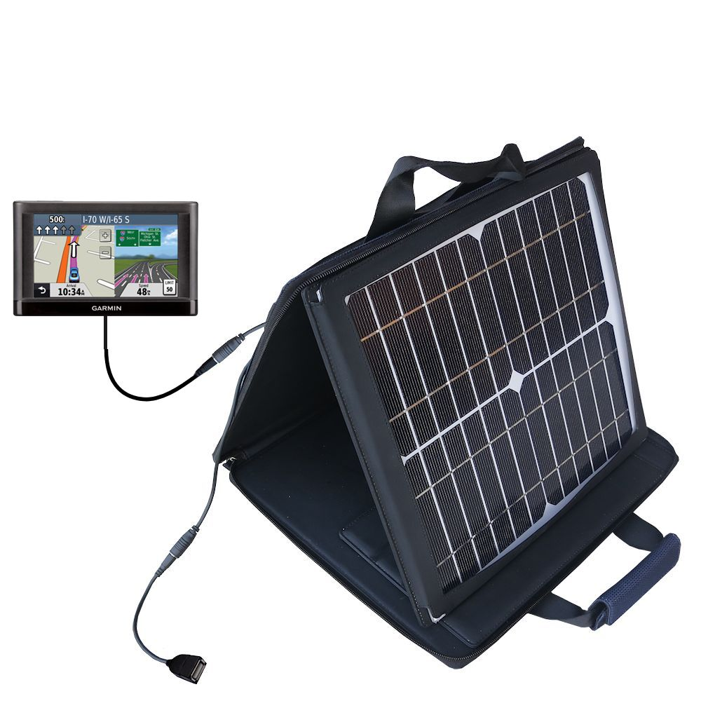 SunVolt Solar Charger compatible with the Garmin nuvi 52 / nuvi 54 and one other device - charge from sun at wall outlet-like speed
