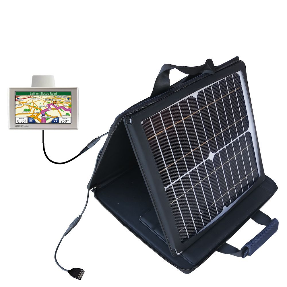 SunVolt Solar Charger compatible with the Garmin Nuvi 680 and one other device - charge from sun at wall outlet-like speed