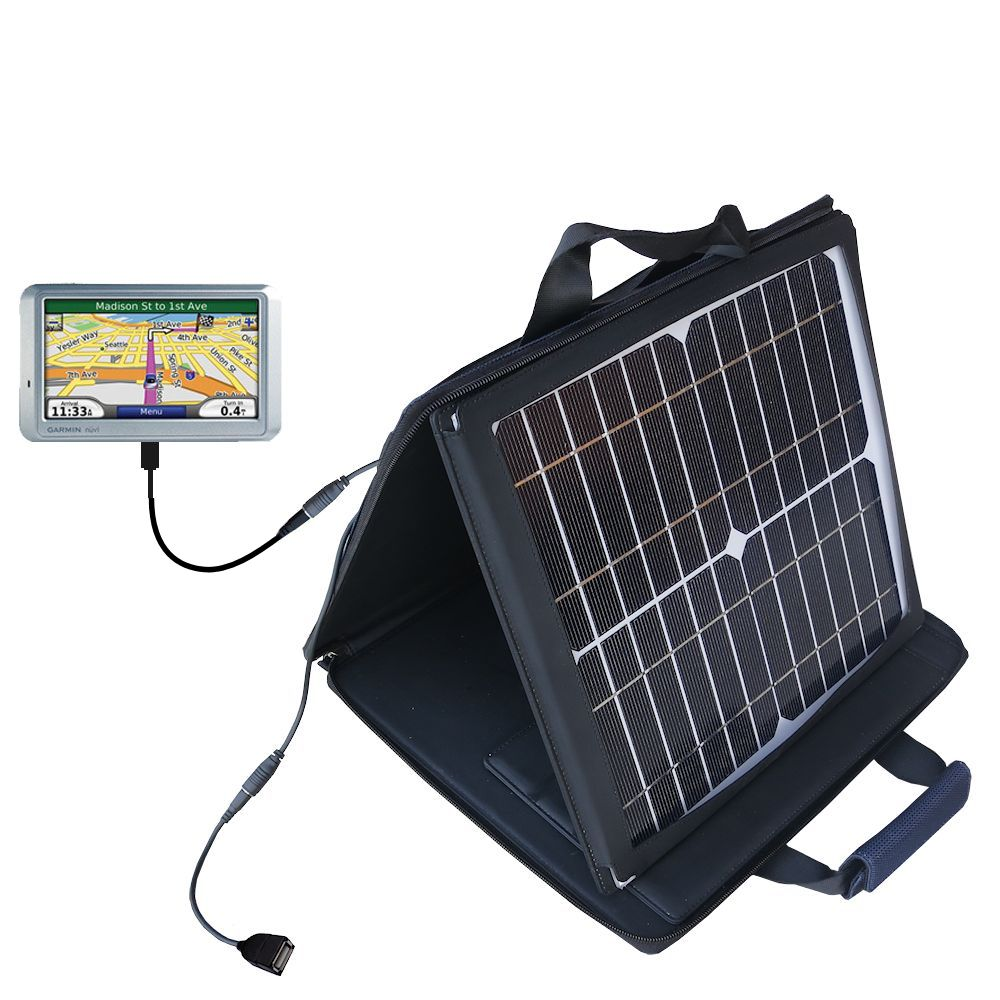 SunVolt Solar Charger compatible with the Garmin Nuvi 710 and one other device - charge from sun at wall outlet-like speed