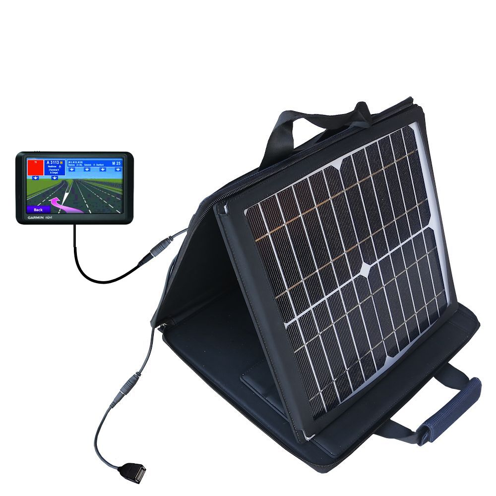 SunVolt Solar Charger compatible with the Garmin Nuvi 760 760T and one other device - charge from sun at wall outlet-like speed