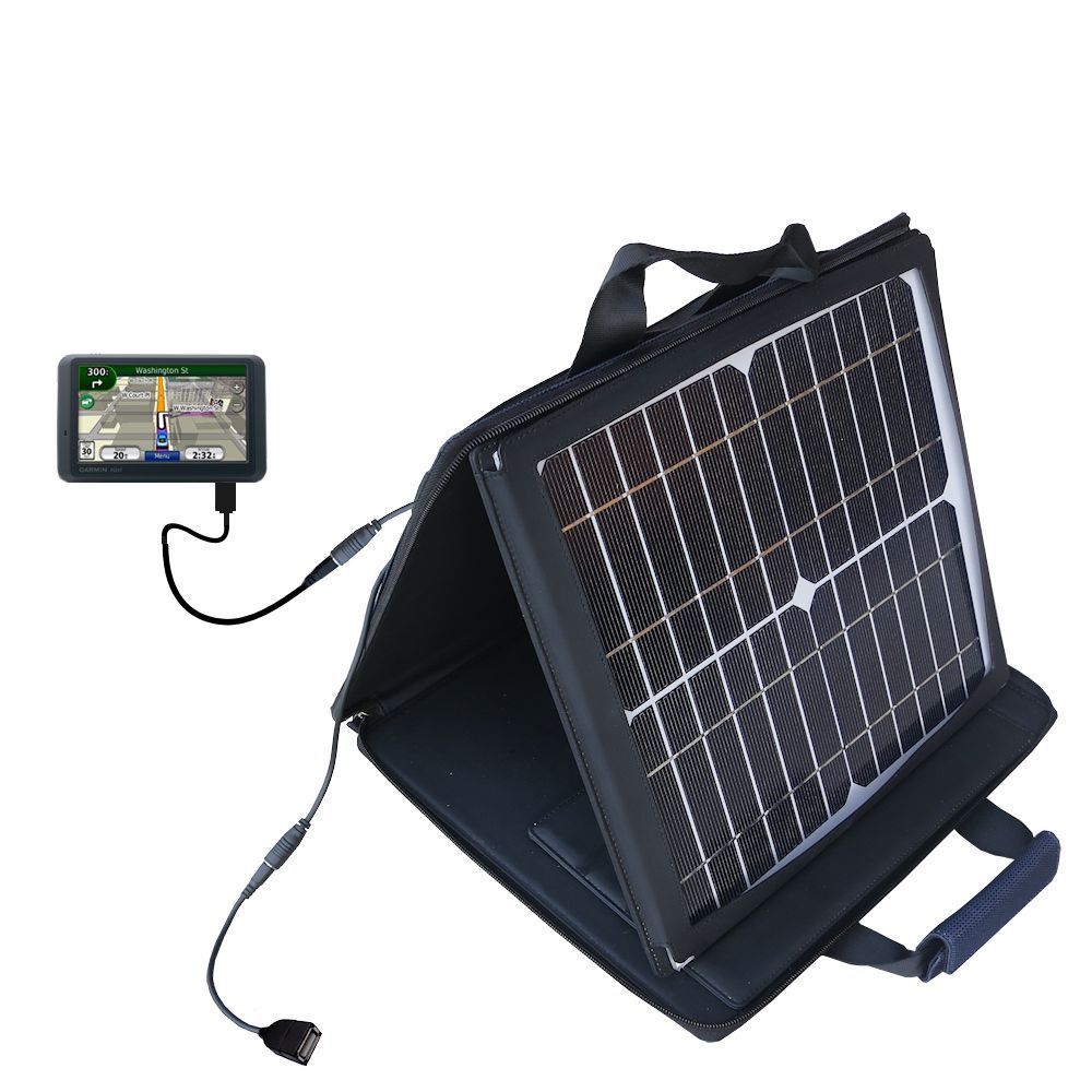 SunVolt Solar Charger compatible with the Garmin Nuvi 765T and one other device - charge from sun at wall outlet-like speed