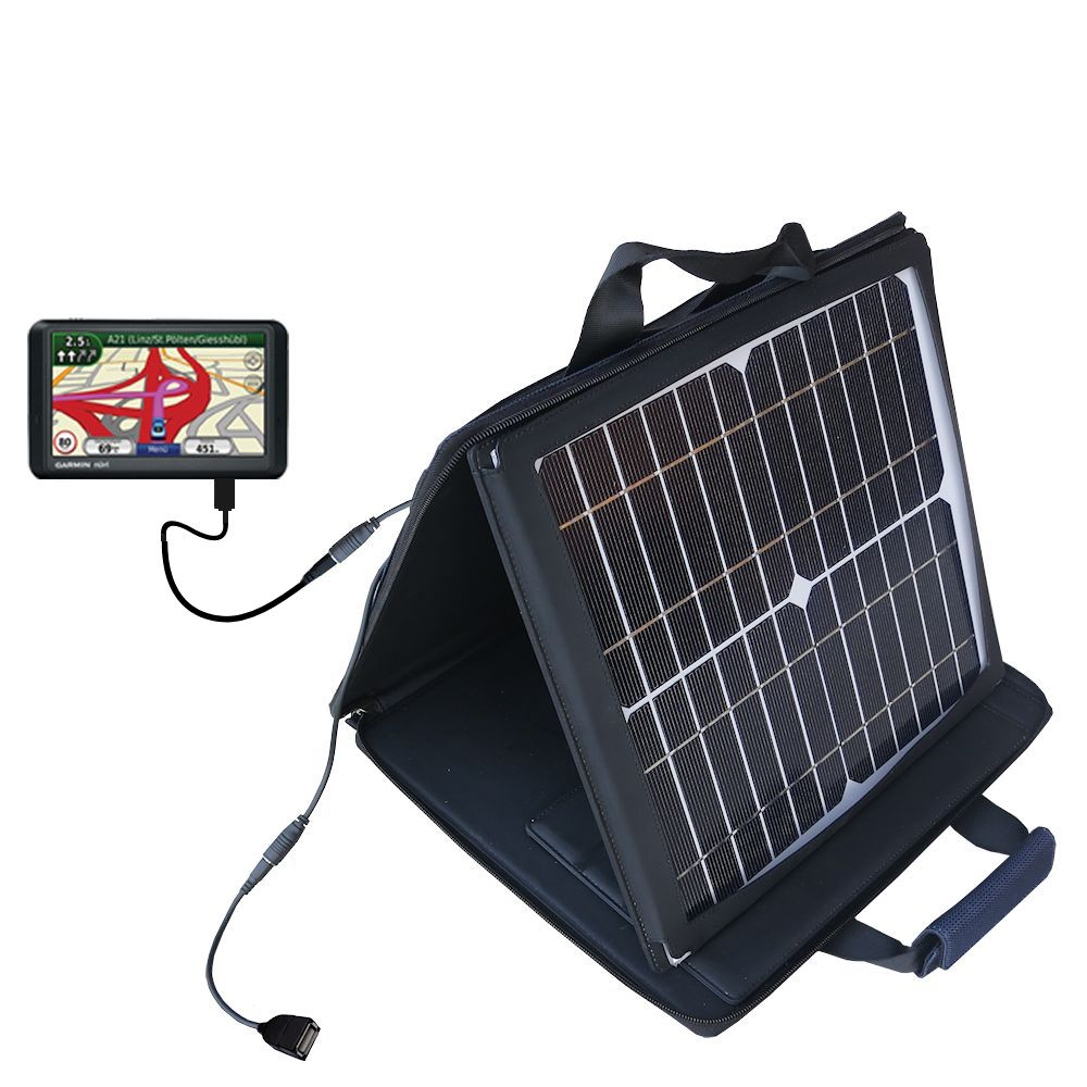 SunVolt Solar Charger compatible with the Garmin Nuvi 785T and one other device - charge from sun at wall outlet-like speed