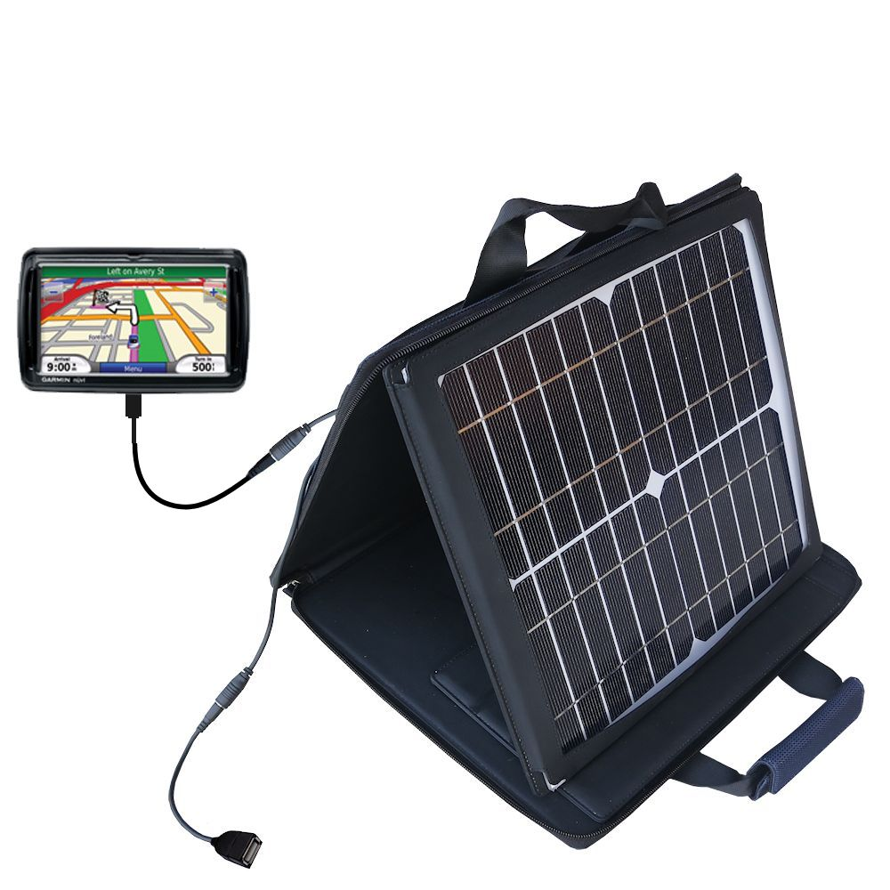 SunVolt Solar Charger compatible with the Garmin Nuvi 850 and one other device - charge from sun at wall outlet-like speed