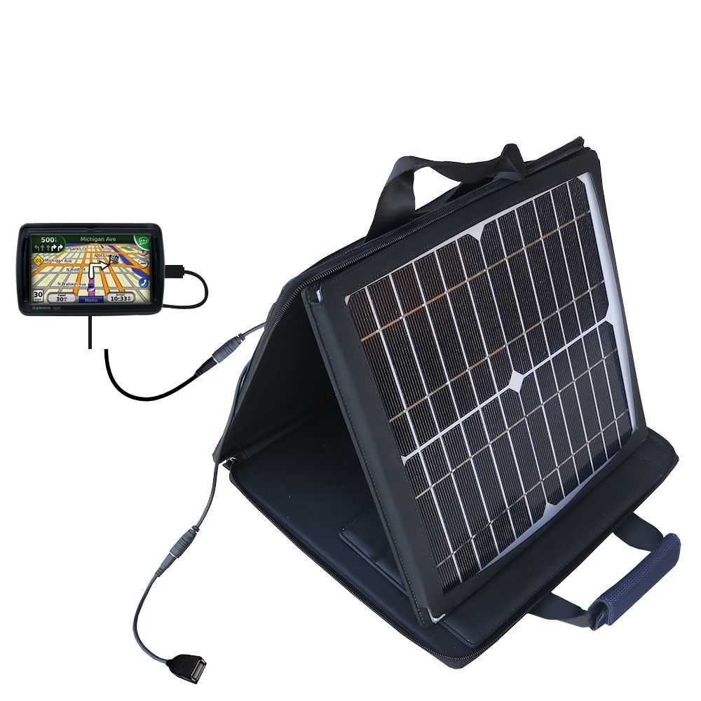 SunVolt Solar Charger compatible with the Garmin Nuvi 855 and one other device - charge from sun at wall outlet-like speed