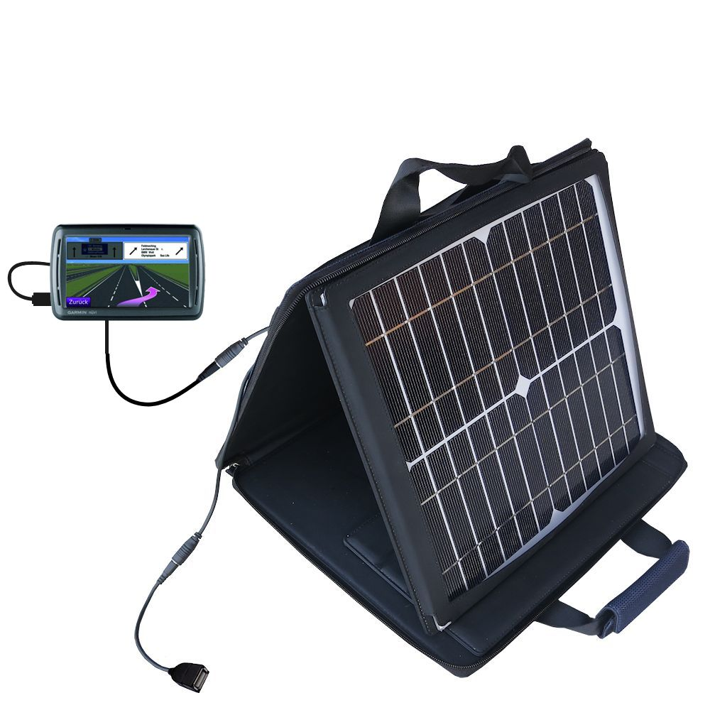 SunVolt Solar Charger compatible with the Garmin Nuvi 860 865Tpro and one other device - charge from sun at wall outlet-like speed