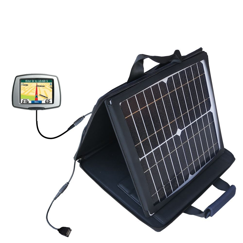 Gomadic SunVolt High Output Portable Solar Power Station designed for the Garmin StreetPilot C340 - Can charge multiple devices with outlet speeds