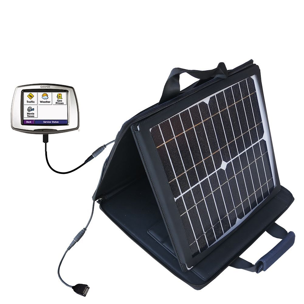 SunVolt Solar Charger compatible with the Garmin StreetPilot C580 and one other device - charge from sun at wall outlet-like speed