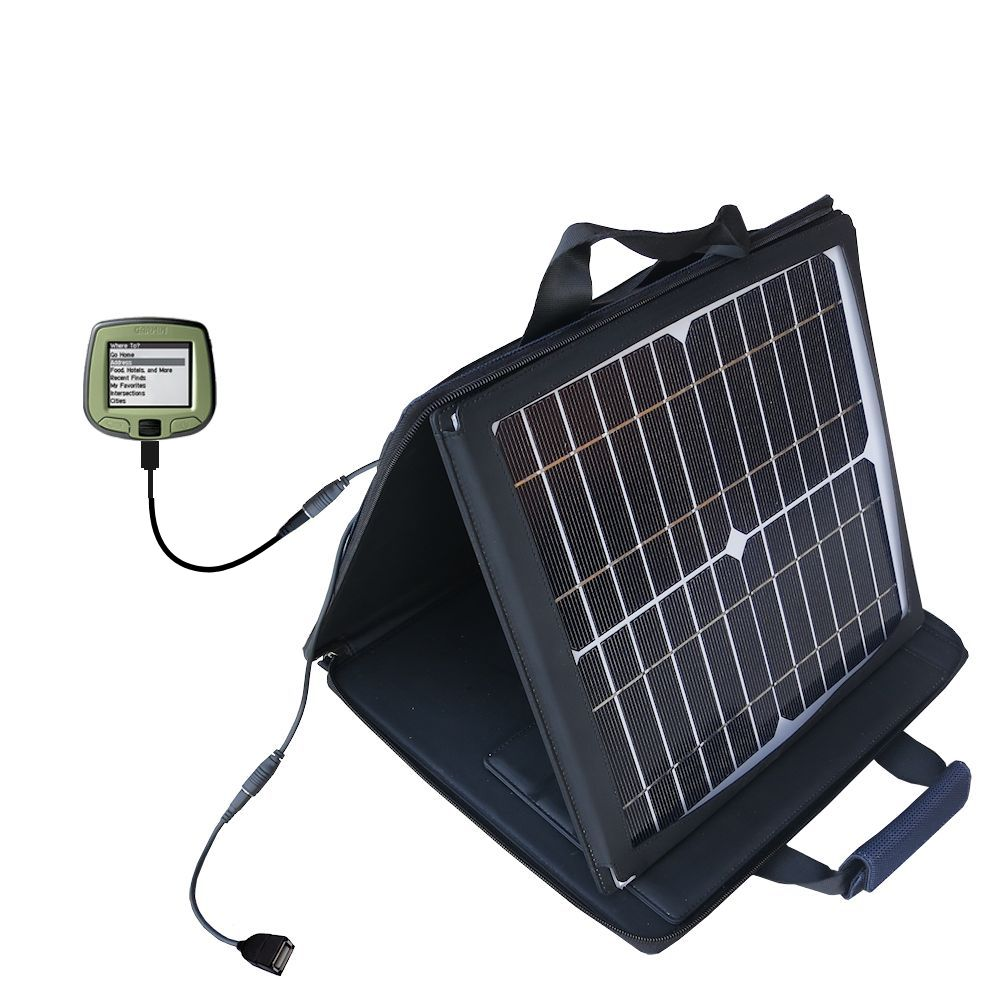 SunVolt Solar Charger compatible with the Garmin StreetPilot i2 i3 i5 and one other device - charge from sun at wall outlet-like speed